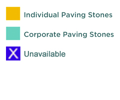 yellow: individual paving stones, turquoise: corporate paving stones